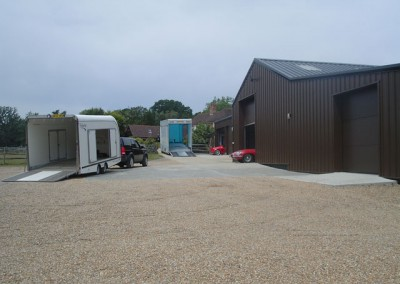 The entrance to our storage area. Plenty of room to load / unload our transporters.