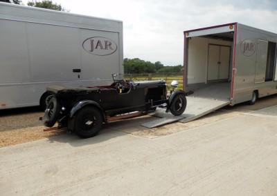 A fabulous vintage Lagonda awaiting loading
