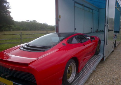 Despite the size of this Jaguar XJ220 prototype/experimental car, a JAR transporter can easily transport this vehicle