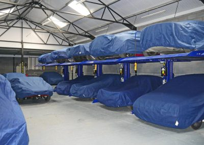 Cars in standard dry storage, all covered with our quality, semi tailored car covers