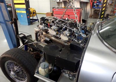 Removal of an engine from a Jaguar E Type Series III
