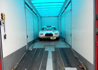 Race cars being loaded for Goodwood
